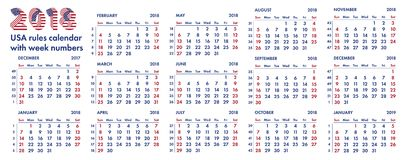 2018 amerikansk kalenderveckor illustration Royaltyfria Bilder