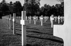 Amerikansk kyrkogård i Normandie - Frankrike Arkivbilder