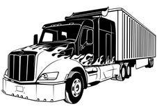 Amerikansk lastbil med släpet Arkivbild