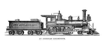 Amerikansk lokomotiv stock illustrationer
