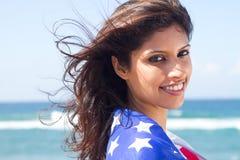 amerikansk lycklig kvinna Arkivfoto