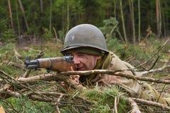 Amerikansk militärpolis för världskrig II under strid Royaltyfria Foton