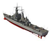 Amerikansk modern krigsskepp över vit bakgrund Royaltyfri Bild