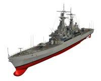 Amerikansk modern krigsskepp på vit bakgrund Arkivfoton