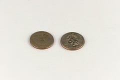 amerikansk myntdollar en - fjärdedel Arkivfoton