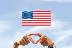 Amerikansk nationsflaggaförälskelsefjärdedel av Juli Royaltyfria Foton