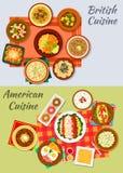 Amerikansk och brittisk kokkonstsymbol för menydesign vektor illustrationer