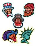 Amerikansk och brittisk maskotsamling vektor illustrationer