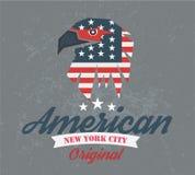 Amerikansk original- klubba, logo och t-skjorta diagram, s Royaltyfri Bild