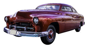 Amerikansk röd klassisk bil som isoleras på vit bakgrund med workp Arkivbilder