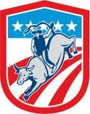 Amerikansk rodeocowboy Retro Bull Riding Shield stock illustrationer