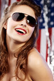 amerikansk sexig kvinna Arkivbild