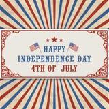 Amerikansk självständighetsdagentitelrad Arkivbild