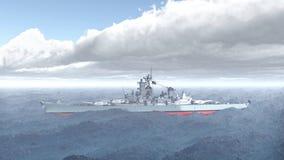 Amerikansk slagskepp av världskrig 2 stock illustrationer