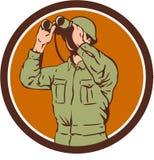 Amerikansk soldat Binoculars Retro Circle för världskrig två Royaltyfri Foto