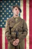 Amerikansk soldat för världskrig 1 1917-18 Arkivbild