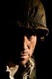 Amerikansk soldat- stående - PTSD Arkivbild