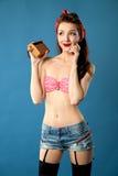 amerikansk stil för studio för flickastiftfor upp Fotografering för Bildbyråer