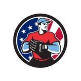 Amerikansk symbol för baseballkannaUSA flagga Arkivfoton