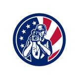 Amerikansk symbol för kameramanUSA flagga royaltyfri illustrationer