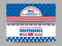 Amerikansk titelrad för självständighetsdagenberömrengöringsduk eller baneruppsättning Royaltyfria Bilder