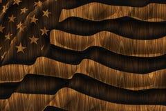 amerikansk träbakgrundsflagga Royaltyfria Bilder