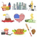 Amerikansk uppsättning för nationella symboler royaltyfri illustrationer