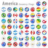 Amerikansk uppsättning för vektorflaggaknapp stock illustrationer