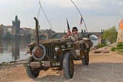 Amerikansk veteran och Jeep Royaltyfri Foto