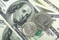 amerikanska bills stänger upp myntdollar Royaltyfri Foto