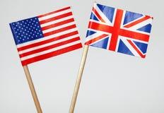 amerikanska brittiska flaggor Royaltyfri Bild