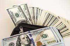 100 amerikanska dollar bilder i påsen, dollarbilder i pengarplånboken, Royaltyfri Foto