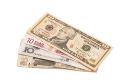 Amerikanska dollar, europeiskt euro, kinesisk yuan och rysk rubel b Royaltyfria Foton
