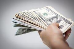 amerikanska dollar hand Royaltyfri Foto
