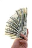 amerikanska dollar isolerad ventilatorhand hundra Royaltyfri Fotografi