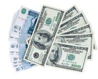 Amerikanska dollar och ryska rubel Arkivbild