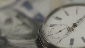 Amerikanska dollar, pengar, tidspring benjamin closeup franklin lager videofilmer