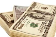 Amerikanska dollar som isoleras på den vita closeupen Royaltyfria Foton