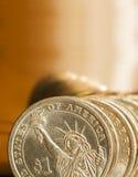Amerikanska dollarmynt royaltyfria foton