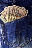 Amerikanska dollarräkningar i fick- bakgrund Royaltyfria Foton