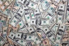 Amerikanska dollarsedlar många sedelbills Arkivbild
