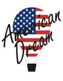 """Amerikanska drömmen för vektorinskrift†""""och luftballong Royaltyfri Bild"""