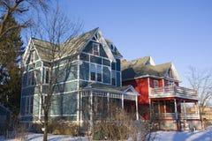 amerikanska färgrika hus Royaltyfria Bilder
