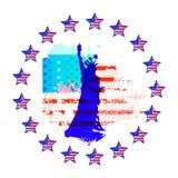 Amerikanska flaggan är USA-självständighetsdagen stock illustrationer