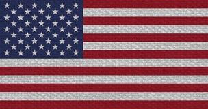 Amerikanska flaggan av Amerikas förenta stater med tygtextur Arkivfoto