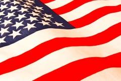 amerikanska flaggan close upp Amerikanska flagganbakgrund Begrepp av patriotism arkivbilder