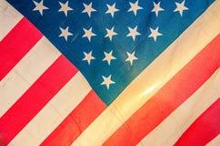 Amerikanska flaggan detalj, solnedgång Royaltyfria Bilder