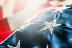 amerikanska flaggan flagga USA Abstrakt perspektivbakgrund av strien Royaltyfria Foton