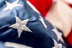 amerikanska flaggan flagga USA Abstrakt perspektivbakgrund av strien Arkivfoto