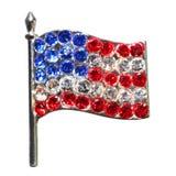 Amerikanska flaggan från diamanter eller bergkristaller som isoleras på vit Royaltyfria Foton